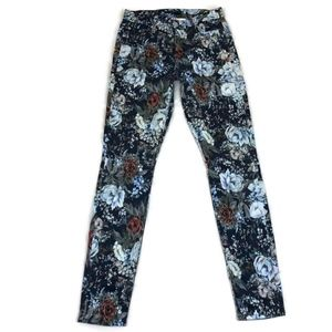 7 for all Mankind Blue Floral Stretch Skinny Pants
